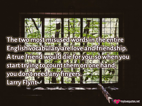 the two most misused words in the entire english vocabulary are love and friendship