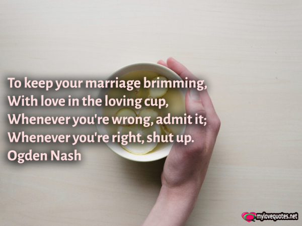to keep your marriage brimming with love in the loving cup
