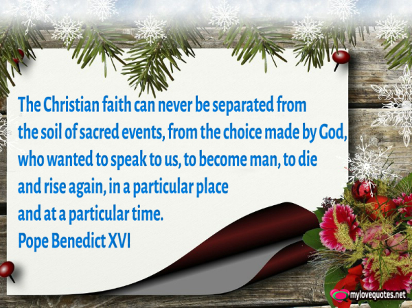 the christian faith can never be separated from the soil of sacred events
