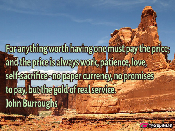 for anything worth having one must pay the price and the price is always work patience love