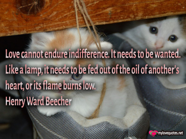 love cannot endure indifference it needs to be wanted