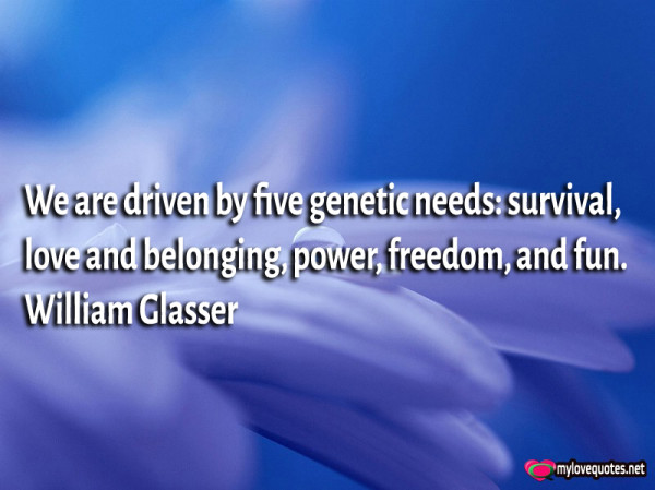 we are driven by five genetic needs survival love and belonging