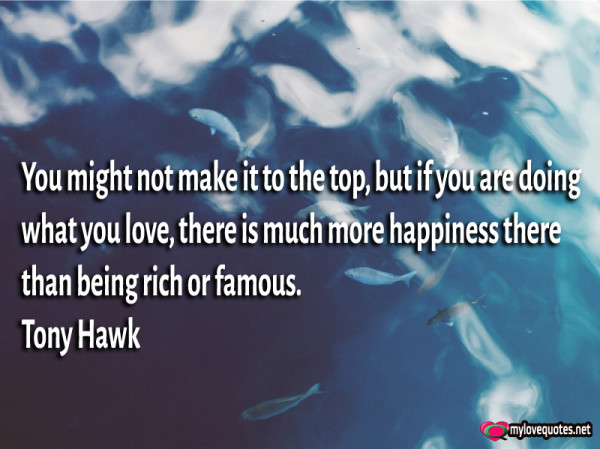 you might not make it to the top but if you are doing what you love