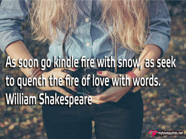 as soon go kindle fire with snow as seek to quench the fire