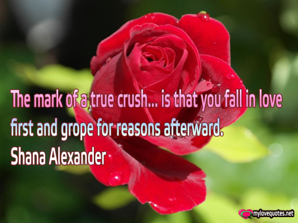 the mark of a true crush is that you fall in love