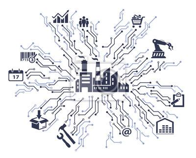 Smart Factory Interactive Business Concept Papier Peint