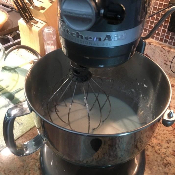 Blend in greek yogurt with mixer.