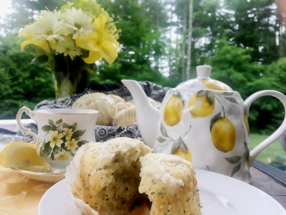 Lemon Poppy Cupcakes with teacup and teapot
