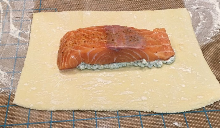 Salmon over mayonnaise on puff pastry