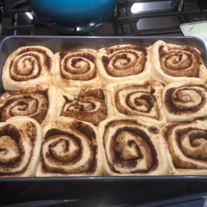 When rolls are doubled in size, place in preheated oven (400 F) and bake for 25-30 minutes until they are nice and golden.