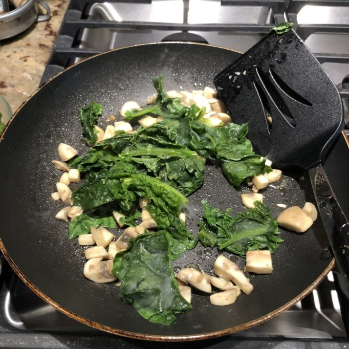 Add spinach to sauteed mushrooms and cook just until wilted. Set mushrooms and spinach aside.