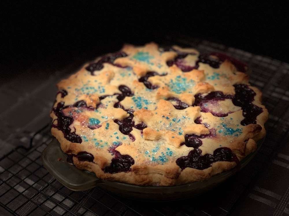 Blueberry Snowflake Pie- Blueberry pie topped  with Snowflake shaped crust.