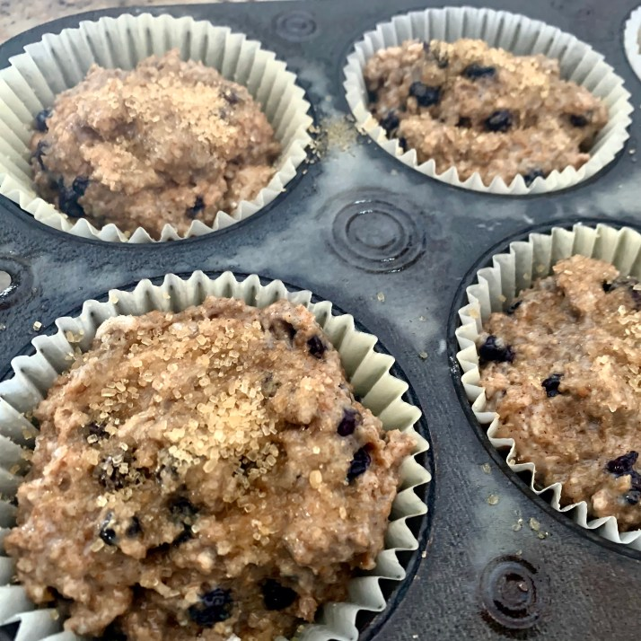 fill prepared muffin tins ¾ full     *for bakery-style crunchy tops, sprinkle turbinado sugar over top of muffin batter