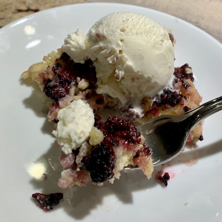Blackberry Cobbler topped with vanilla ice cream