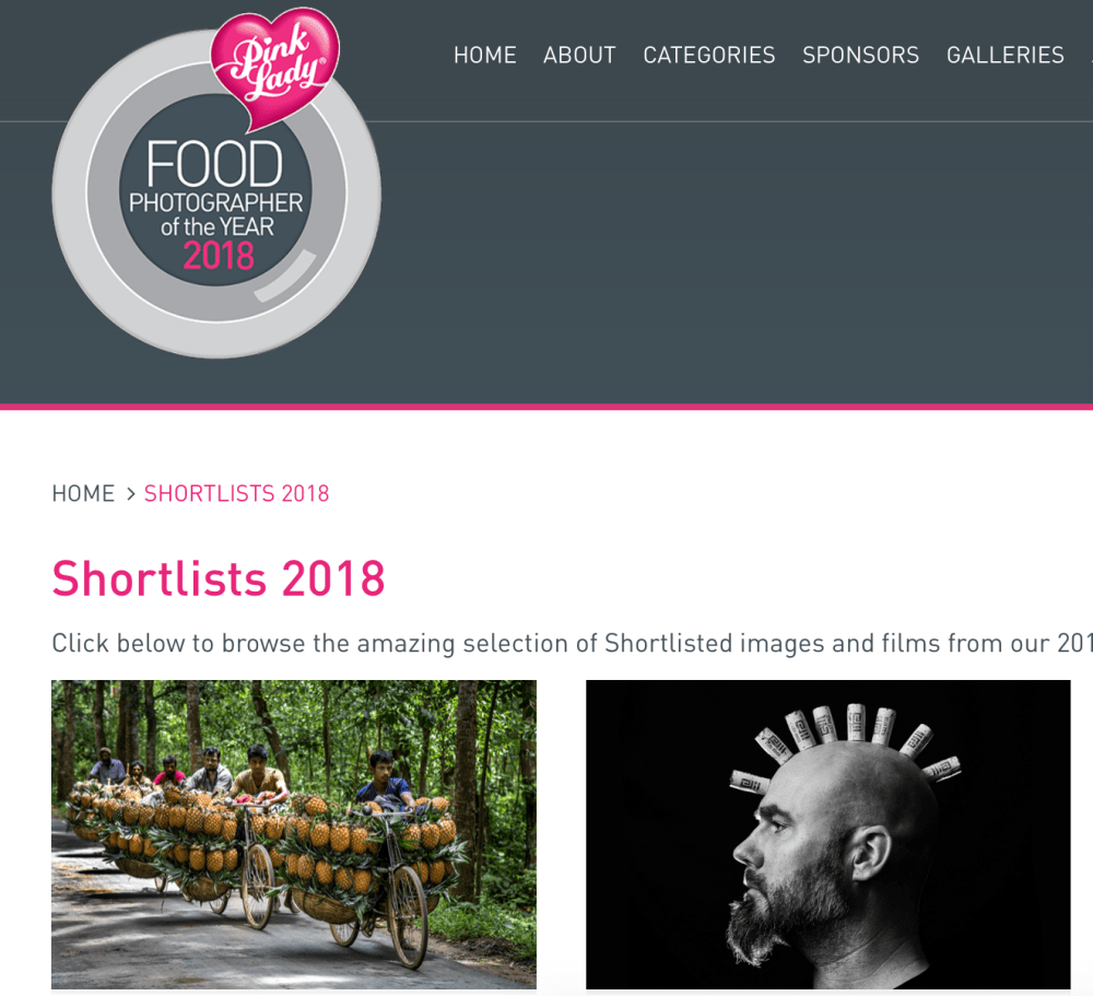 Pink Lady Food photographer of the year 2018