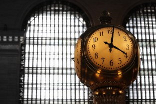 The four-sided ball clock that sits atop the information kiosk is located in the main hall. It's worth an estimated $10 million. Its four faces are made of opal set in brass with a brass acorn on top—the Vanderbilt family's symbol.
