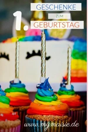 Geschenke zum 1. Geburtstag - Einhorntorte mit Regenbogen Cupcakes