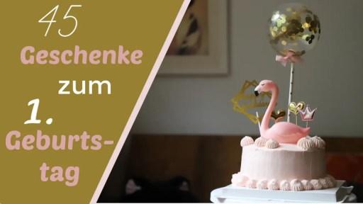 45 Geschenke zum 1. Geburtstag - Flamingo auf einer Torte mit Ballon.