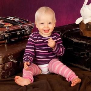 Merino-Babystulpen Pink Rosa Gestreift