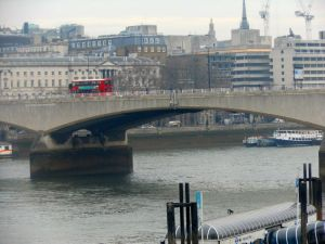 Just to prove I was actually there-a rather dreary picture of the Thames, and a London bus!!