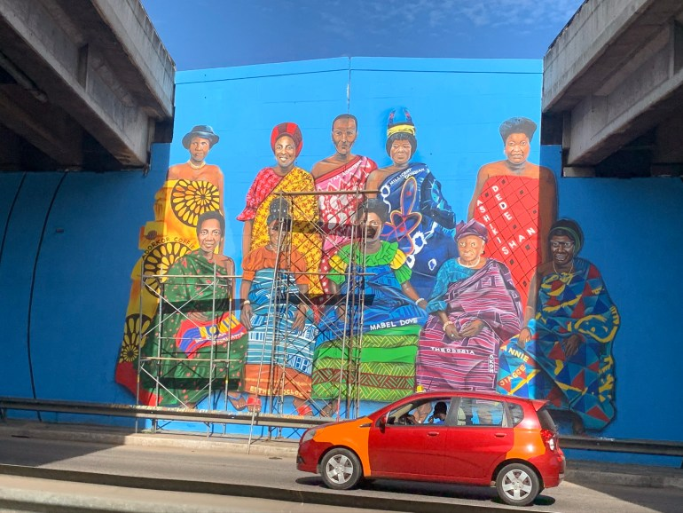 Ghana street art - a mural in Airport Area Accra of a royal family