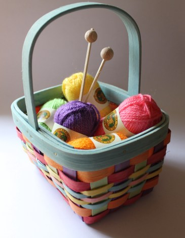 Container Store Basket, Lion Brand Yarns Bonbons