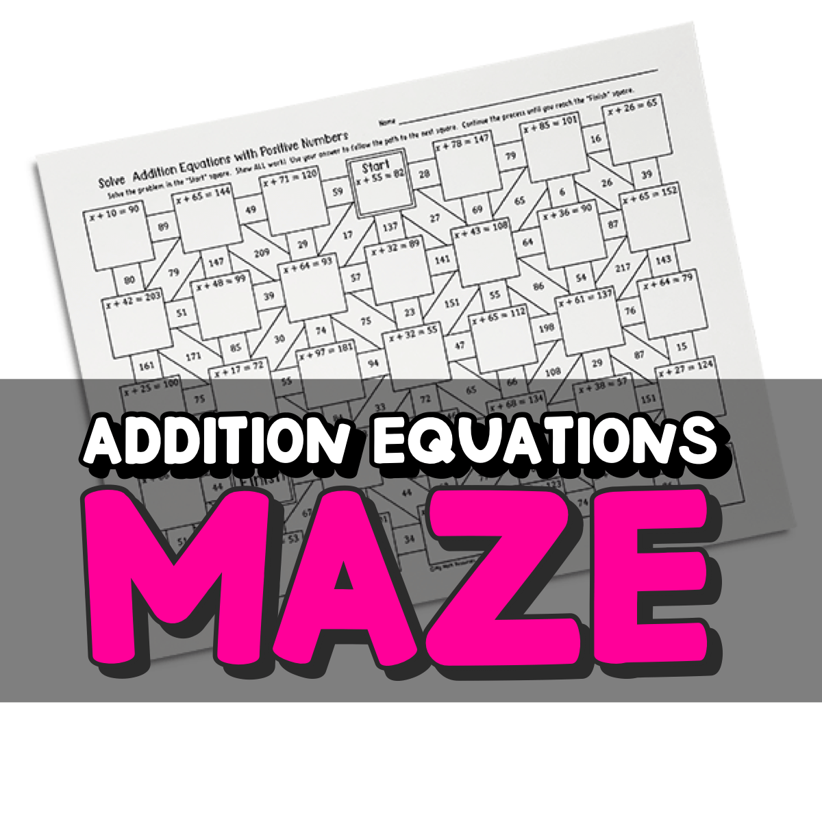 Addition Equations Maze