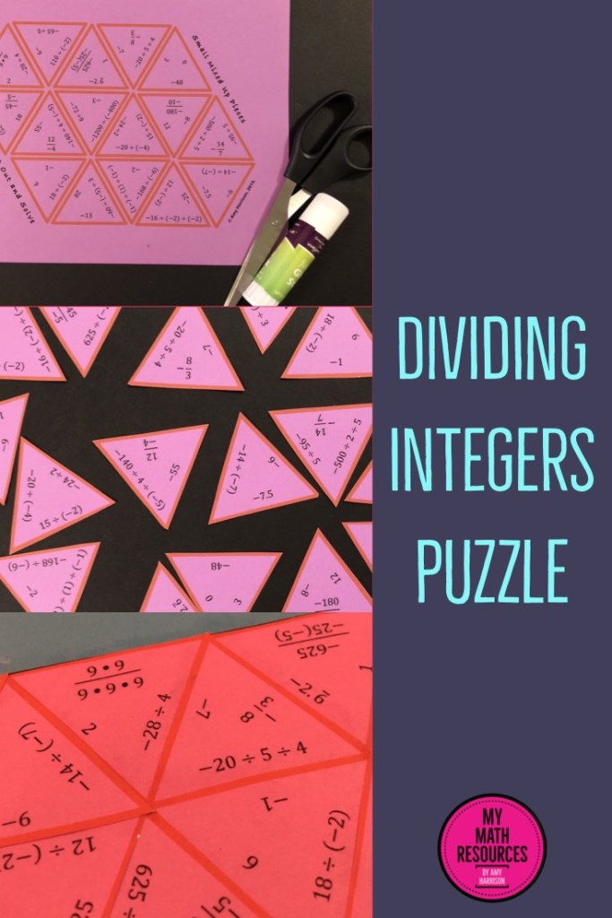This puzzle is a great way for your 6th, 7th, 8th, or 9th grade math class to practice dividing integers!  This is an easy, no prep activity - print & go!  #mathteacher #math #maths #teacher #algebra #geometry #mathproblems # study #iteachsixth #iteachseventh #iteacheigth #6thgrade #7thgrade #8thgrade #middleschoolmath #teacherspayteachers #teachersfollowteachers #teacherinspiration