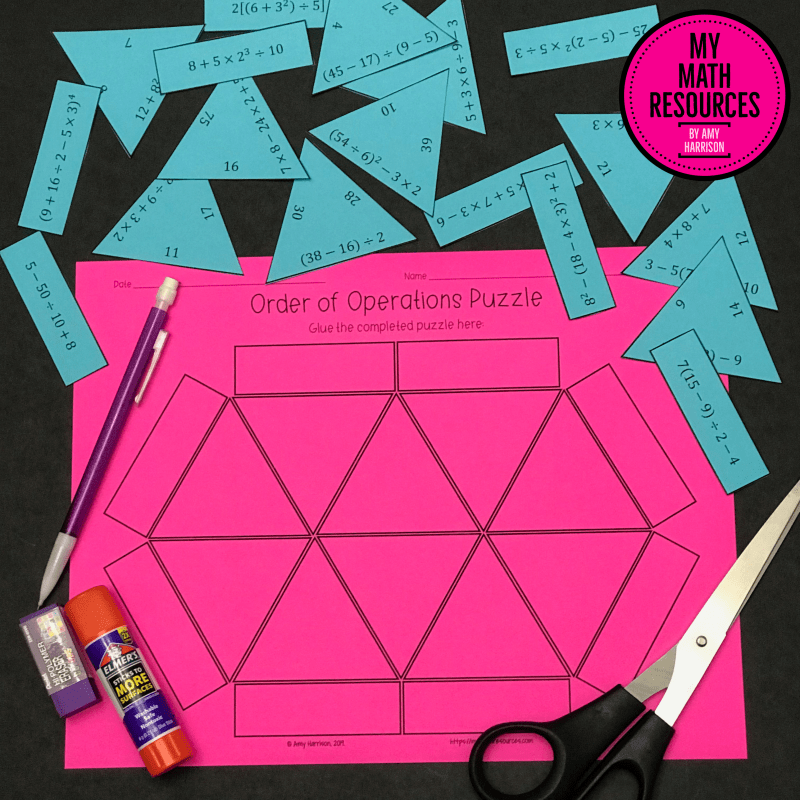 This is a fun and engaging way for your 5th, 6th, or 7th grade math students to practice the order of operations and common core standard 6.EE.A.1!  Students LOVE puzzles, and you have NO PREP - just print and go!  It comes with an answer key!  Easy!  #mathteacher #math #maths #teacher #algebra #geometry #mathproblems #study #iteachsixth #iteachseventh #iteacheigth #6thgrade #7thgrade #8thgrade #middleschoolmath #teacherspayteachers #teachersfollowteachers #teacherinspiration