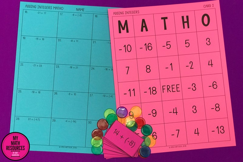 MATHO is a great way for your 6th, 7th, or 8th Grade Math class to practice Adding Integers.  There is almost no prep - just print and go!  Easy!  #mathteacher #math #maths #teacher #algebra #geometry #mathproblems #study #iteachsixth #iteachseventh #iteacheigth #6thgrade #7thgrade #8thgrade #middleschoolmath #teacherspayteachers #teachersfollowteachers #teacherinspiration