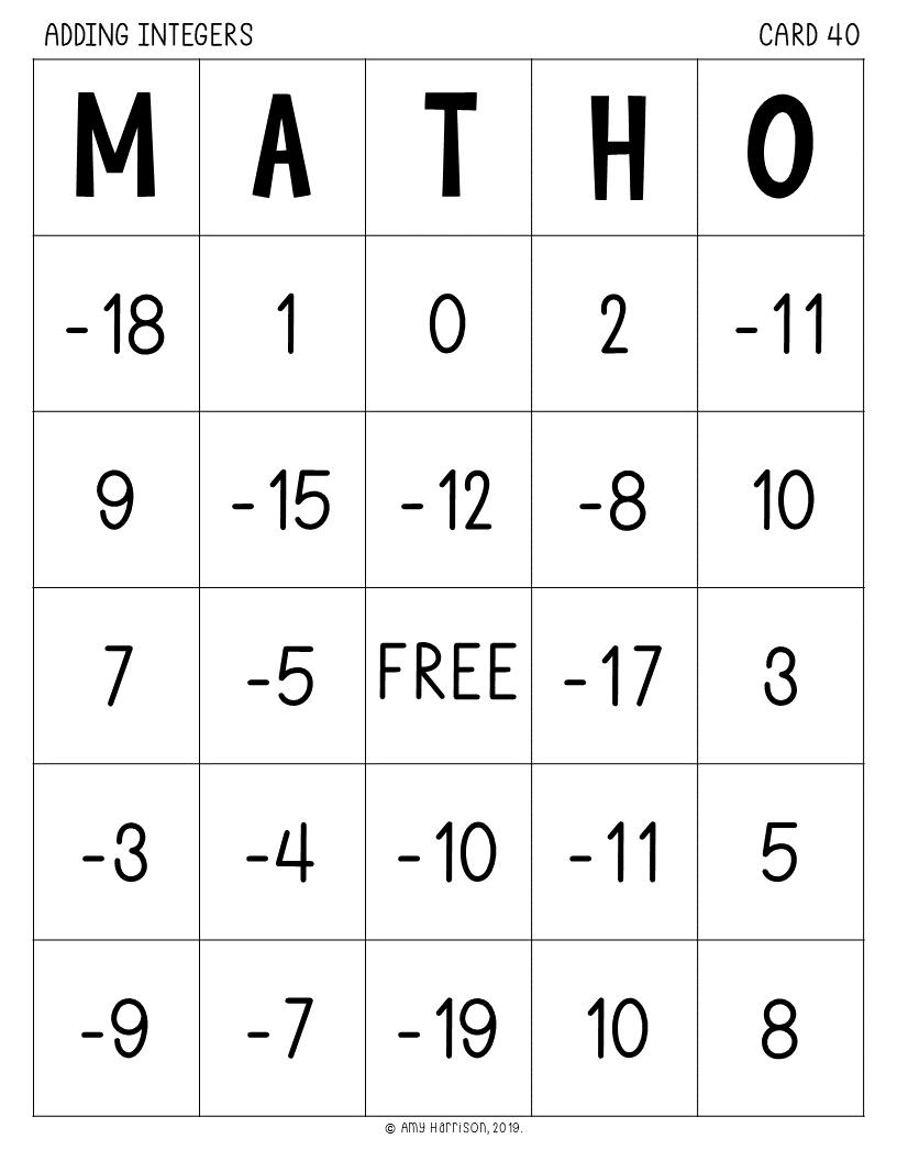 photograph regarding 7th Grade Math Bingo Printable titled My Math Supplies - Including Integers MATHO (Bingo Activity)
