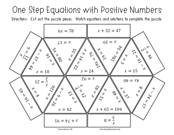 One Step Equations Positive Numbers Puzzle