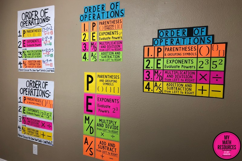 This PEMDAS Order of Operations Bulletin Board & Poster is the perfect classroom decor for any 5th, 6th, 7th, or 8th Grade Math Class.  This is vital information for Upper Elementary, Middle School and Jr. High Math students!  This is a MUST HAVE poster!  #mathteacher #math #maths #teacher #algebra #geometry #mathproblems #study #iteachsixth #iteachseventh #iteacheigth #iteachfifth #5thgrade #6thgrade #7thgrade #8thgrade #middleschoolmath #teacherspayteachers #teachersfollowteachers #teacherinspiration