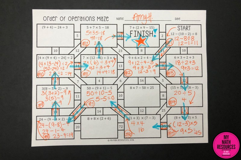 This is an Order of Operations Maze - a fun way to practice core standard 5.OA.A.1!  A great change of pace for any 5th or 6th grade Math Class - your students will have fun while they practice Order of Operations.  #mathteacher #math #maths #teacher #algebra #geometry #mathproblems #study #iteachsixth #iteachfifth #6thgrade #5thgrade #middleschoolmath #upperelementary #teacherspayteachers #teachersfollowteachers #teacherinspiration