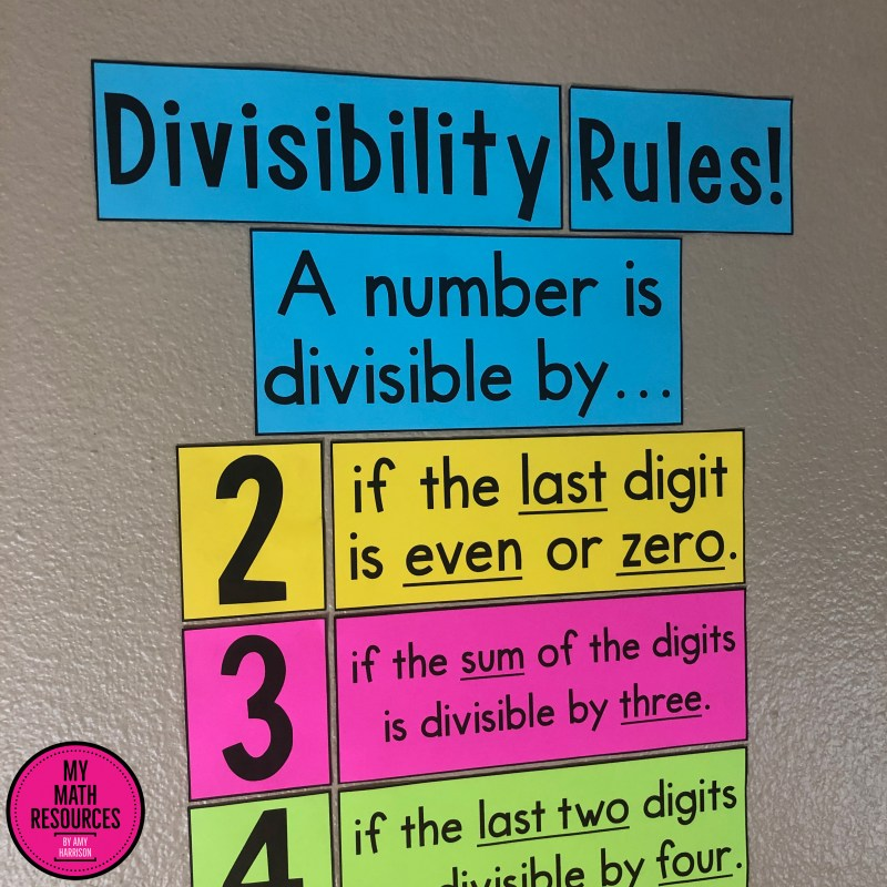This divisibility rules poster is a must have for any 4th, 5th, or 6th grade classroom.  An eye-catching poster that POPS off the wall, this printable poster will help your students struggling with division by giving them handy rules that help them divide large numbers!  #mathteacher #math #maths #teacher #algebra #geometry #mathproblems #study #iteachfourth #iteachfifth #iteachsixth #4thgrade #5thgrade #6thgrade #middleschoolmath #teacherspayteachers #teachersfollowteachers #teacherinspiration
