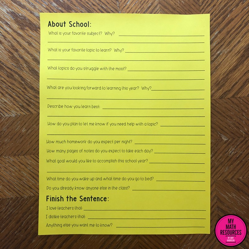 This Back to School Questionnaire is perfect for the first day of school!  Get to know your students by using this icebreaker!  Any grade level or any subject - this survey is for you!  #teacher #teacherlife #education #school #teachersfollowteachers #teachers #teaching #iteachtoo #teach #students #iteach #teacherspayteachers