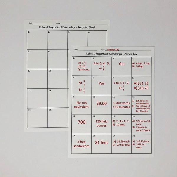 Ratios and Proportional Relationships Task Cards Worksheet