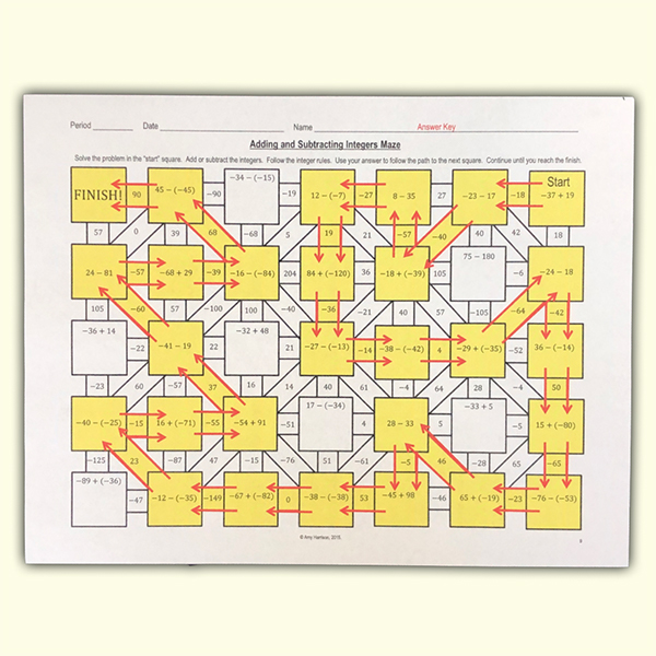 Adding and Subtracting Integers Maze 10