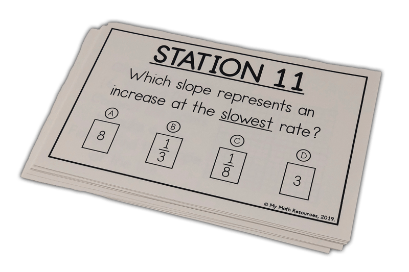 This is a great way to practice Core Standard 8.EE.B.6.  Your 7th, 8th, or 9th grade math class will love these slope of a line stations or task cards.  Stations are an awesome warm up or test review!  #mathteacher #math #maths #teacher #algebra #geometry #mathproblems #study #iteachsixth #iteachseventh #iteacheigth #6thgrade #7thgrade #8thgrade #middleschoolmath #teacherspayteachers #teachersfollowteachers #teacherinspiration