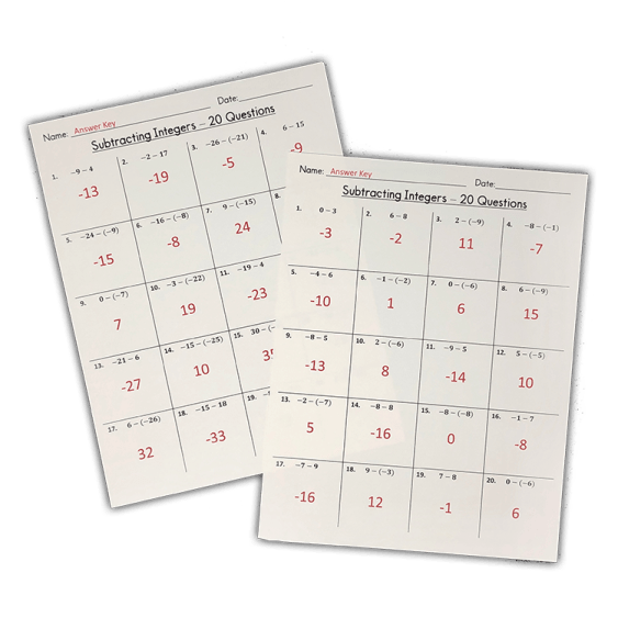 These are three FREE beginner level subtracting integers worksheets! Each expression has two integers between -10 and 10.  Includes an answer key!  Use these worksheets as class work or homework!