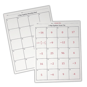 Practicing two step equations has never been more easy with these task cards! They include multiple printing options and an answer key. Give yourself an easy day, and give your class an entertaining way to review two-step equations!  Your 7th, 8th or 9th grade class will love them!