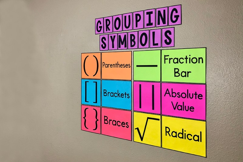 These eye-catching bulletin board posters will help your students learn the types of grouping symbols and will look GREAT on your word wall with your anchor charts!  Some of your students may need help remembering all the different grouping symbols - parentheses, brackets, braces, absolute value bars, fraction bars, and radical signs. Having a constant reminder on the wall really helps!  Your 4th, 5th, 6th, or 7th grade math students will really benefit from this poster. But it will fit in any middle school or high school math class too! #middleschoolmath #math #posters
