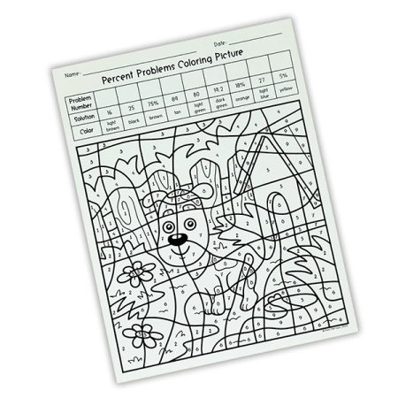 Your 5th, 6th, or 7th grade math class will LOVE the change of pace from traditional worksheets!   Practicing and reviewing percents is fun with this percent problems coloring picture.