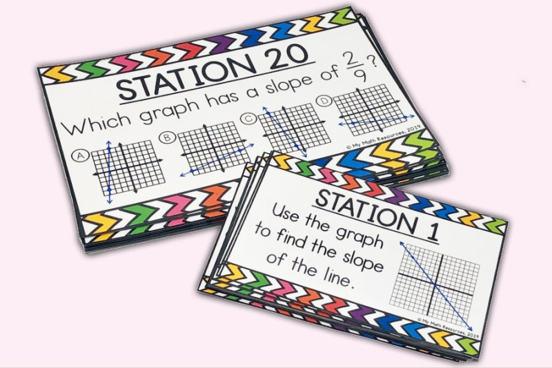 These task cards are a fun way to practice Core Standard 8.EE.B.6.  Your 7th, 8th, or 9th grade math class will love these slope of a line stations or task cards.  Stations are an awesome warm up or test review!