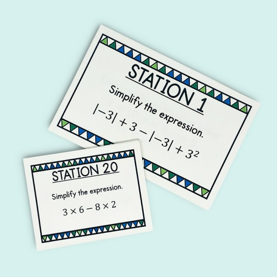 These task cards are perfect for reviewing evaluating expressions and order of operations in your 5th, 6th, or 7th grade math class!  Use them for math stations, speed dating, warm up, bell ringer, or for early finishers!