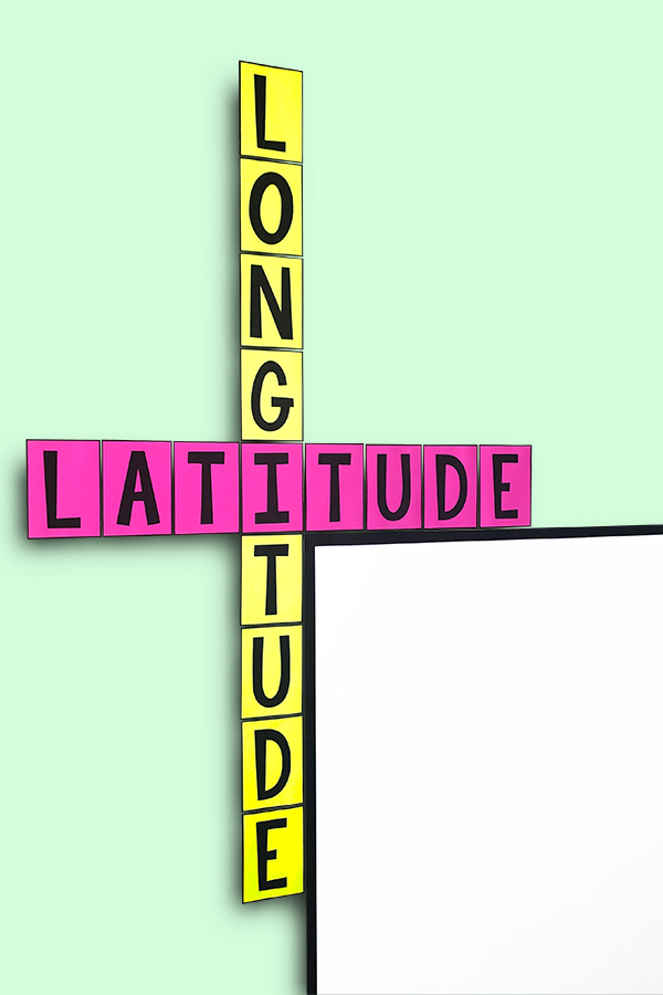 A cute addition to ANY classroom, these latitude and longitude posters will help your students remember the difference between latitude & longitude.  And they are FREE!
