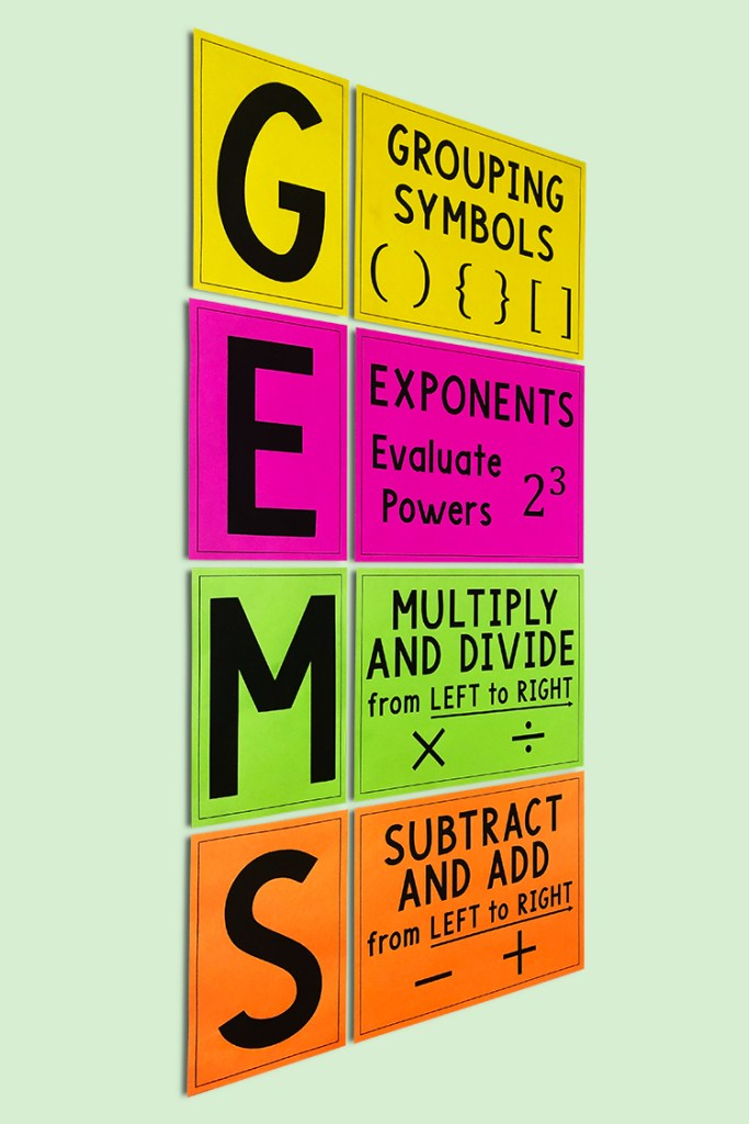 This GEMS Order of Operations Bulletin Board is perfect for any middle school math classroom.  When you're teaching the GEMS method, it helps to have this poster on the wall!
