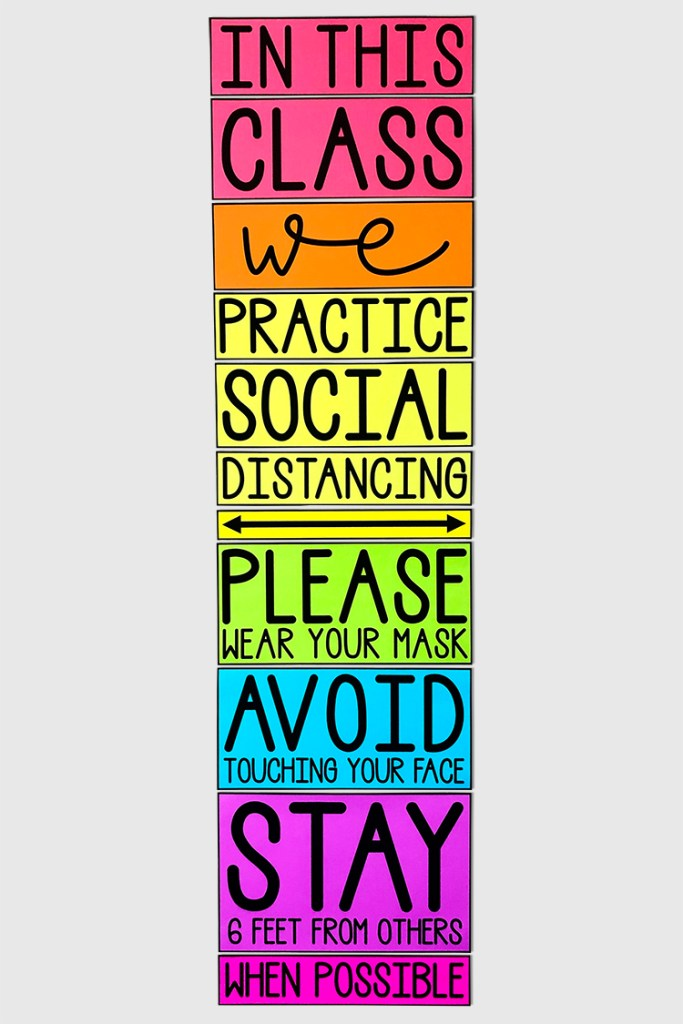 This social distancing poster will help keep order in your class and will look BEAUTIFUL on your wall!  Use this poster to remind your students of your classroom social distance rules.