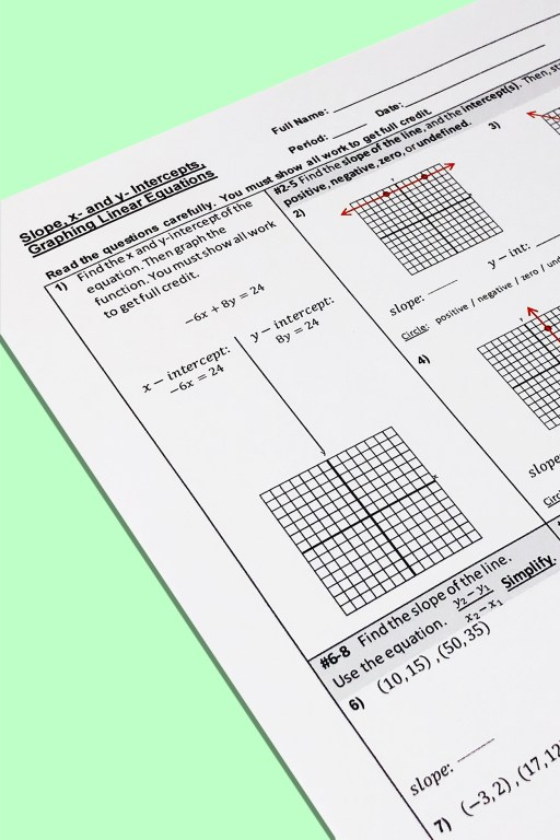 If you need a graphing linear equations quiz for your 7th or 8th grade math class, don't spend your valuable free time creating one - I've done the work for you!  This quiz covers slope, linear equations, and x and y intercepts.