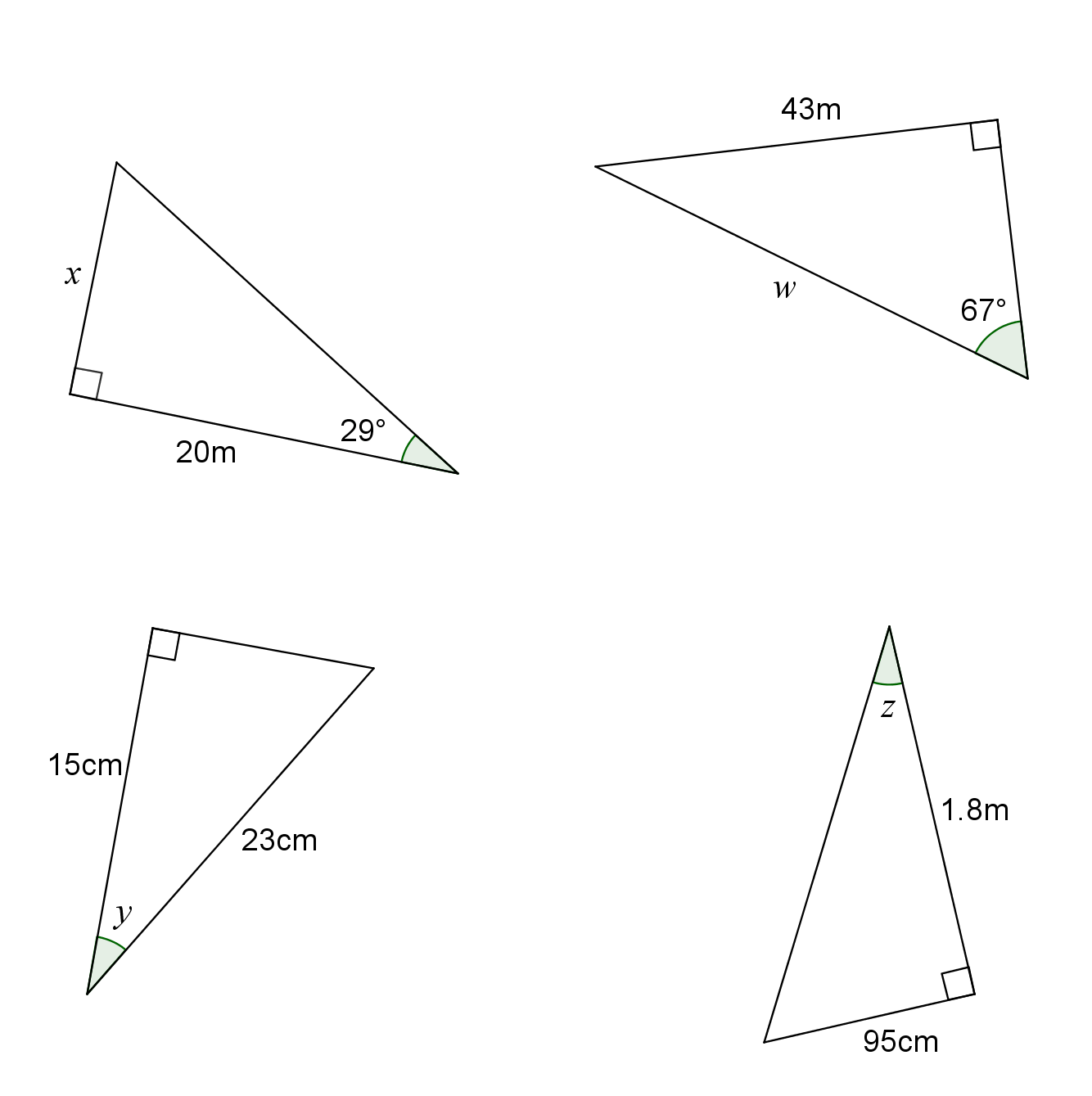 Trigonometry Right Angled Triangles Quesitons